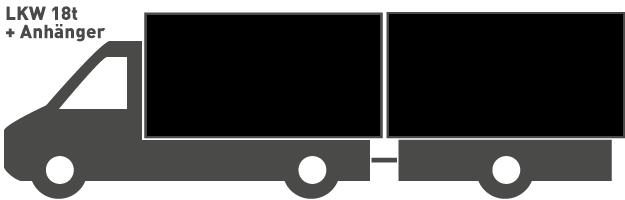 56 - 80 m³ LKW 18t + Anhänger